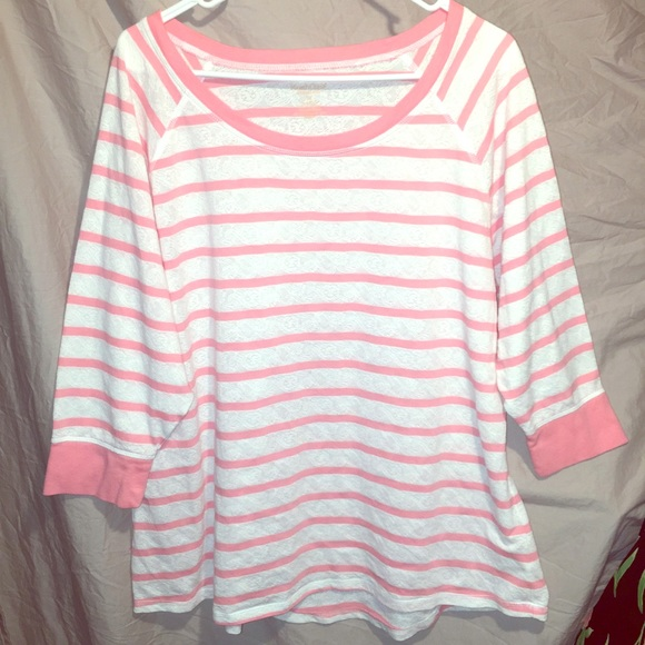 Northcrest Tops - Striped plus size blouse